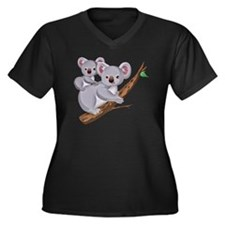 Koala and Ba Women's Plus Size Dark V-Neck T-Shirt