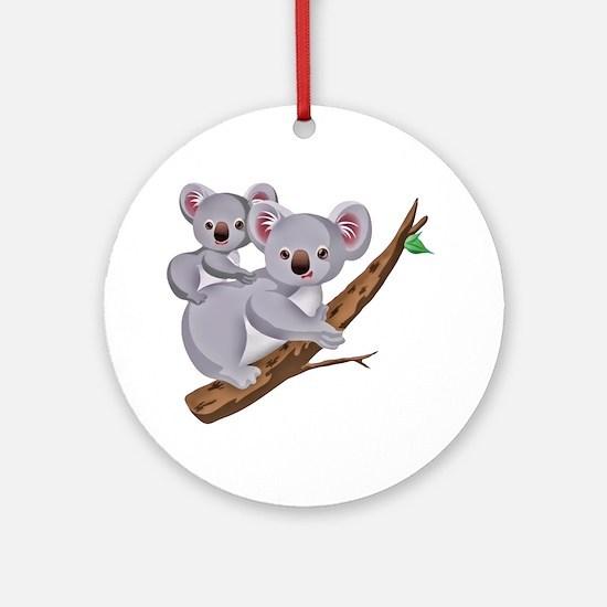 Koala and Baby on Eucalyptus Tree B Round Ornament