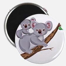 Koala and Baby on Eucalyptus Tree Branch Magnet