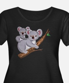 Koala an Women's Plus Size Dark Scoop Neck T-Shirt