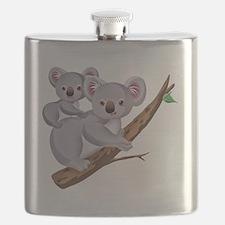 Koala and Baby on Eucalyptus Tree Branch Flask