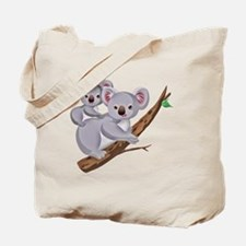 Koala and Baby on Eucalyptus Tree Branch Tote Bag