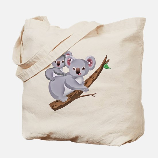 Koala and Baby on Eucalyptus Tree Branch Tote Bag