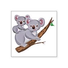 "Koala and Baby on Eucalyptu Square Sticker 3"" x 3"""