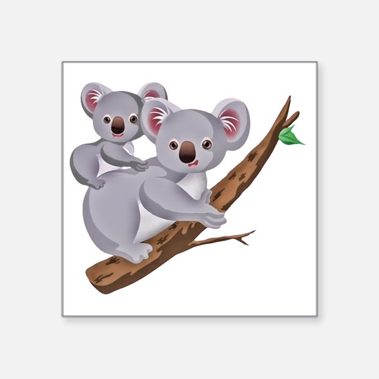 "Koala and Baby on Eucalyptu Square Sticker 3"" x 3"""