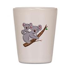 Koala and Baby on Eucalyptus Tree Branc Shot Glass