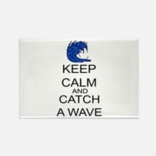 Keep Calm And Catch A Wave Rectangle Magnet
