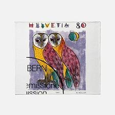 Vintage 1991 Switzerland Owls Postage Stamp Throw