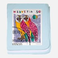 Vintage 1991 Switzerland Owls Postage Stamp baby b