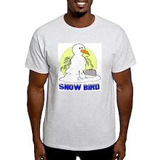 Snowbird Vacation Cartoon (Front) Ash Grey T-Shirt