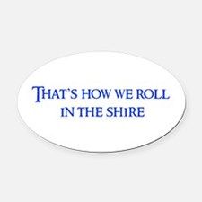roll-in-shire-blue Oval Car Magnet