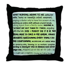 what nursing means to me BLUE Throw Pillow