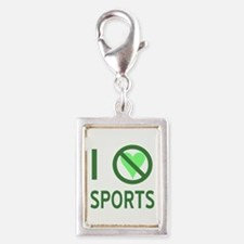 I Hate Sports Silver Portrait Charm