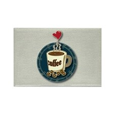 I Love Coffee Rectangle Magnet