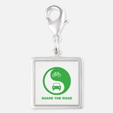 SHARE THE ROAD Silver Square Charm