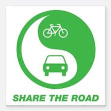 "SHARE THE ROAD Square Car Magnet 3"" x 3"""