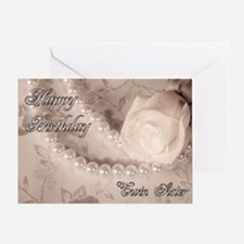 Twin sister, birthday card with pearls Greeting Ca