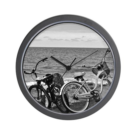 Bikes by the Sea Wall Clock
