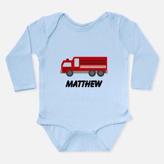 Personalized Fire Truck Long Sleeve Infant Bodysui