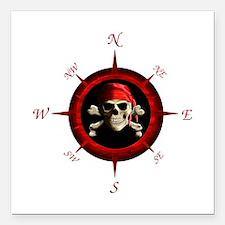 "Pirate Compass Rose Square Car Magnet 3"" x 3"""