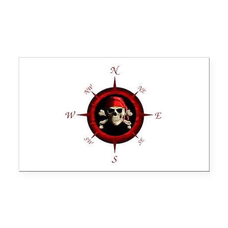 Pirate Compass Rose Rectangle Car Magnet
