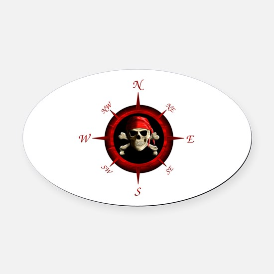 Pirate Compass Rose Oval Car Magnet