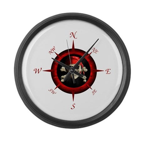 Pirate Compass Rose Large Wall Clock