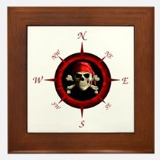 Pirate Compass Rose Framed Tile