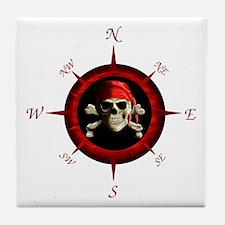 Pirate Compass Rose Tile Coaster