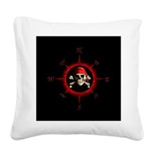 Pirate Compass Rose Square Canvas Pillow