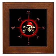 Pirate Compass Rose Framed Tile