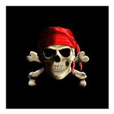 "Jolly Roger Square Car Magnet 3"" x 3"""