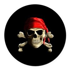 Jolly Roger Round Car Magnet
