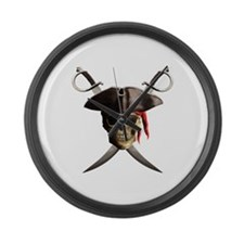 Pirate Skull And Swords Large Wall Clock