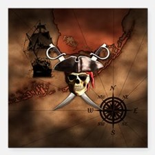 "Pirate Map Square Car Magnet 3"" x 3"""