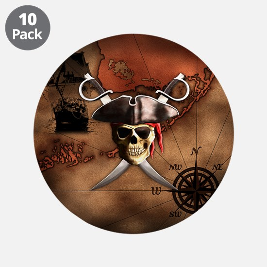 "Pirate Map 3.5"" Button (10 pack)"