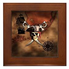 Pirate Map Framed Tile
