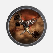 Pirate Map Wall Clock
