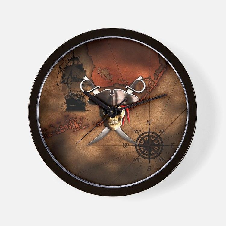 Pirate Map Wall Clock