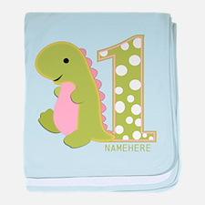 Customized First Birthday Green Dinosaur baby blan
