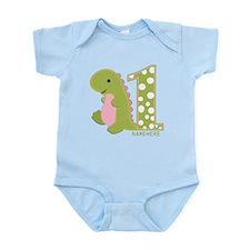 Customized First Birthday Green Dinosaur Infant Bo