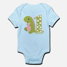 Customized First Birthday Green Dinosaur Infant Bo