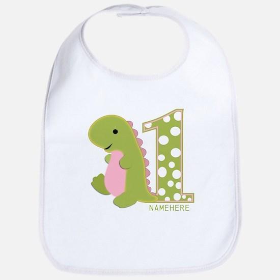 Customized First Birthday Green Dinosaur Bib