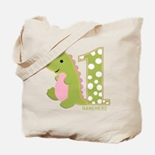 Customized First Birthday Green Dinosaur Tote Bag