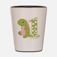 Customized First Birthday Green Dinosaur Shot Glas