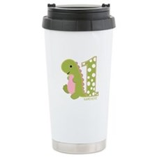 Customized First Birthday Green Dinosaur Travel Mug