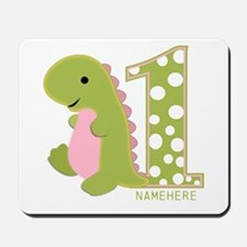 Customized First Birthday Green Dinosaur Mousepad