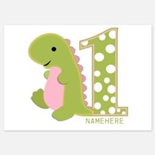 Customized First Birthday Green Dinosaur Invitations