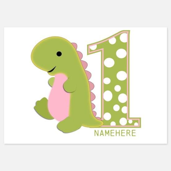 Customized First Birthday Green Dinosaur Invitations