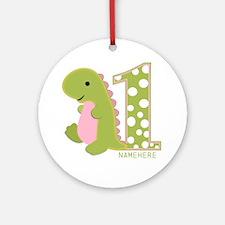 Customized First Birthday Green Dinosaur Ornament